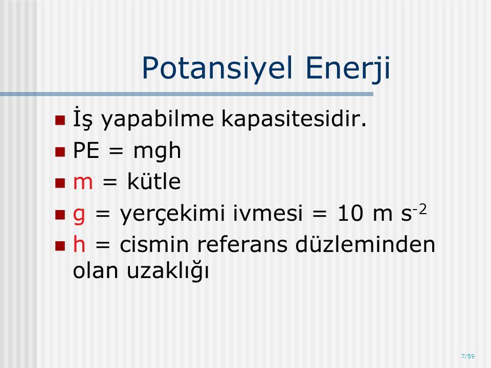 Potansiyel Enerji İş yapabilme kapasitesidir. PE = mgh m = kütle