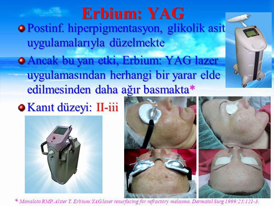 Erbium: YAG Postinf. hiperpigmentasyon, glikolik asit uygulamalarıyla düzelmekte.