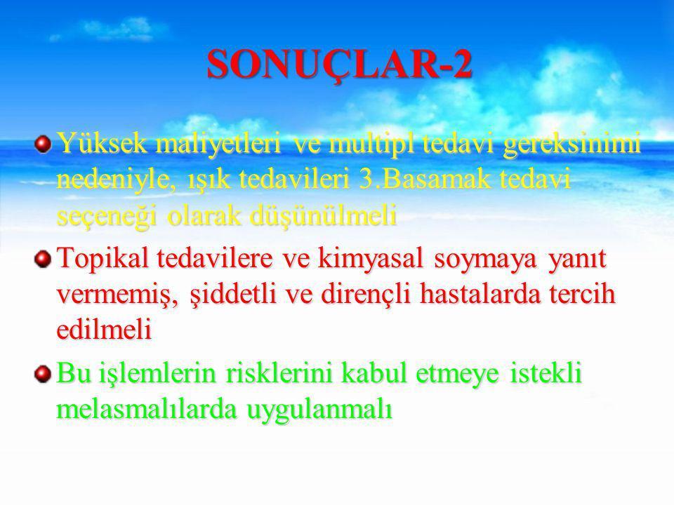 SONUÇLAR-2 Yüksek maliyetleri ve multipl tedavi gereksinimi nedeniyle, ışık tedavileri 3.Basamak tedavi seçeneği olarak düşünülmeli.