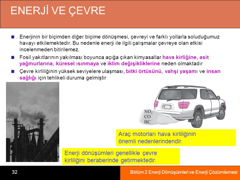 ENERJİ VE ÇEVRE Araç motorları hava kirliliğinin