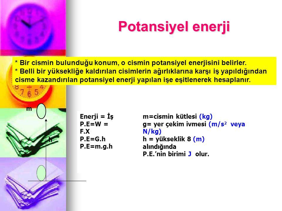 Potansiyel enerji * Bir cismin bulunduğu konum, o cismin potansiyel enerjisini belirler.