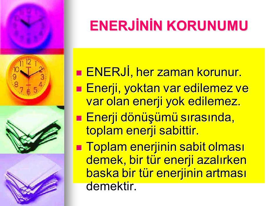 ENERJİNİN KORUNUMU ENERJİ, her zaman korunur.