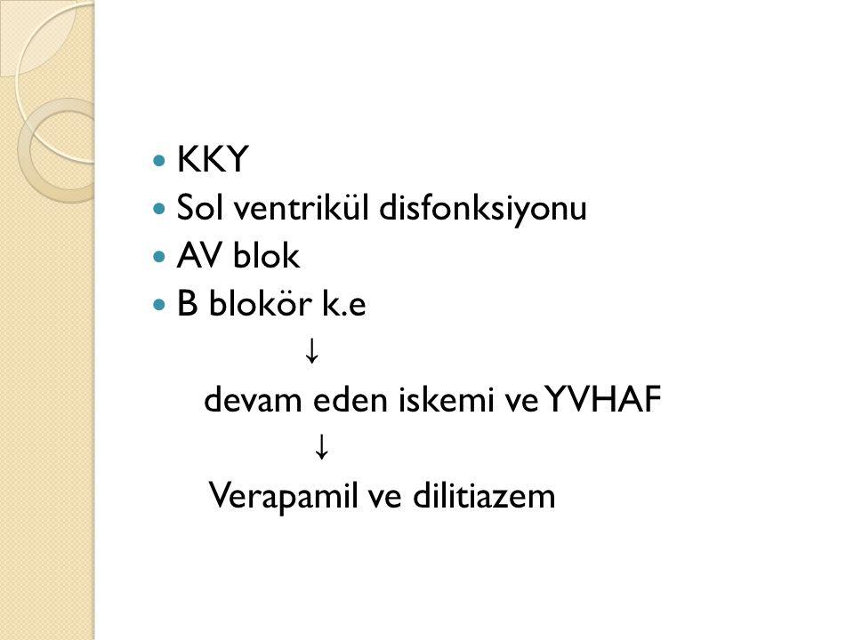 KKY Sol ventrikül disfonksiyonu. AV blok. B blokör k.e.