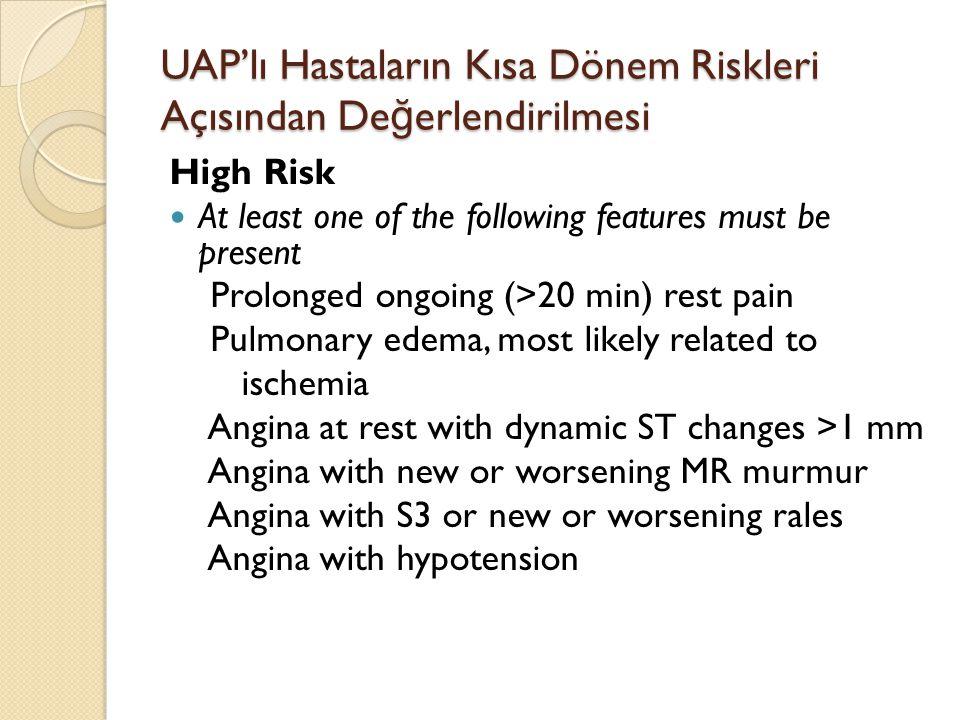 UAP'lı Hastaların Kısa Dönem Riskleri Açısından Değerlendirilmesi