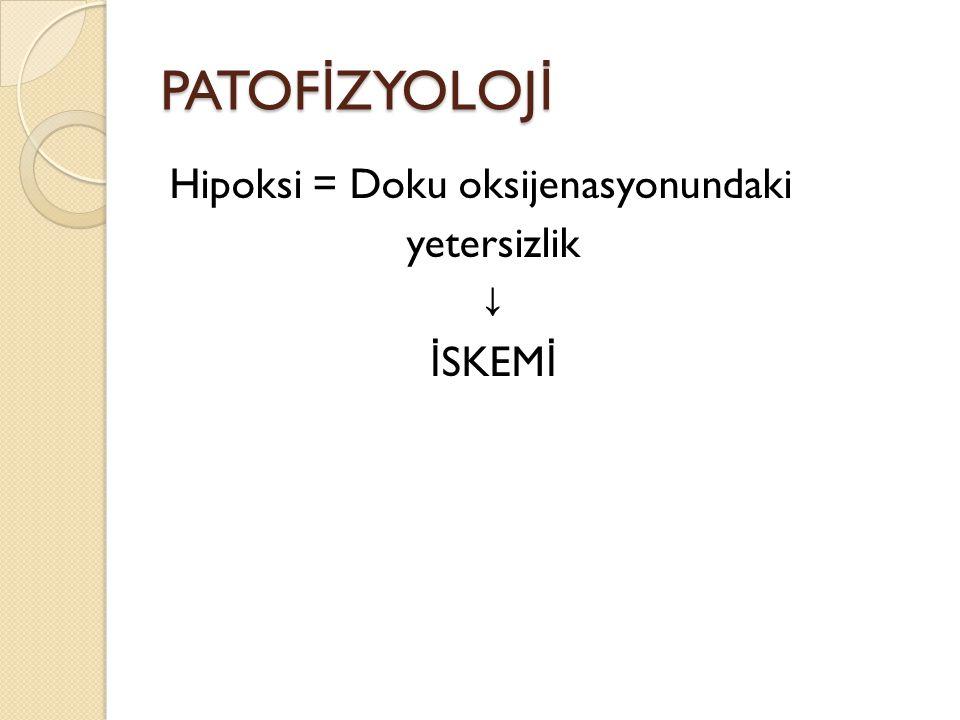 PATOFİZYOLOJİ Hipoksi = Doku oksijenasyonundaki yetersizlik ↓ İSKEMİ