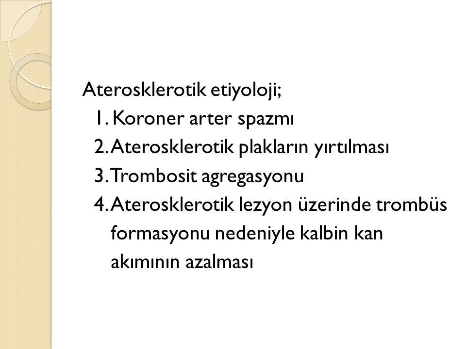 Aterosklerotik etiyoloji; 1. Koroner arter spazmı 2