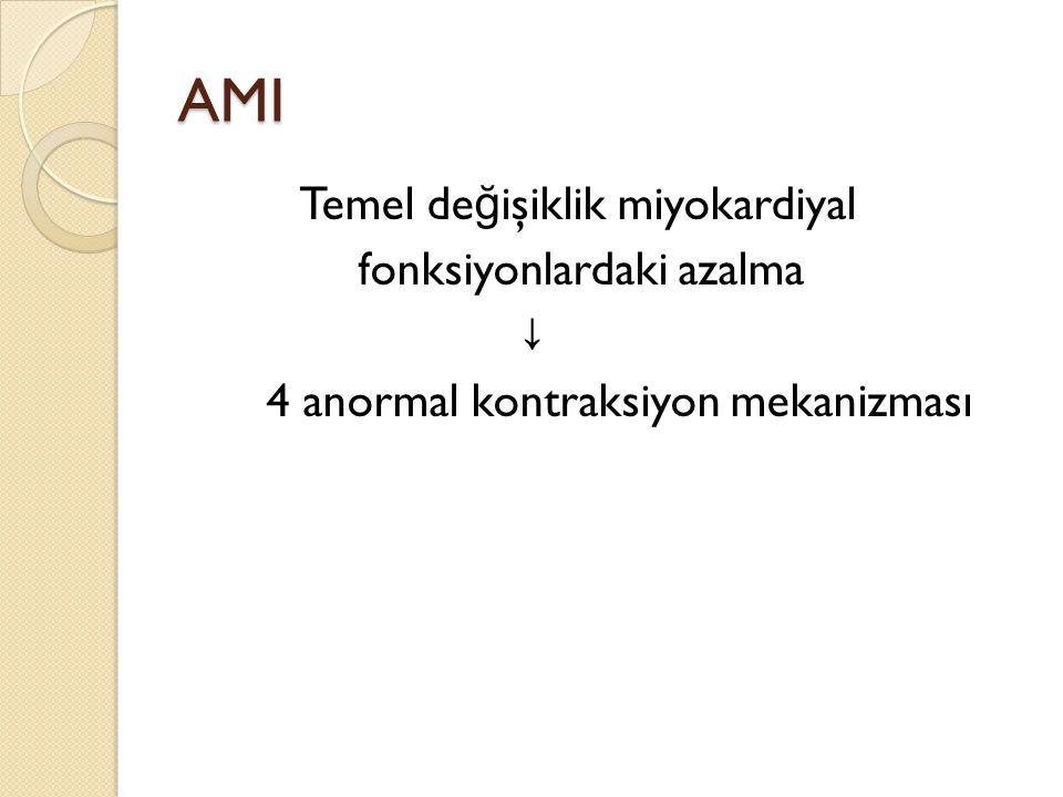 AMI Temel değişiklik miyokardiyal fonksiyonlardaki azalma ↓ 4 anormal kontraksiyon mekanizması