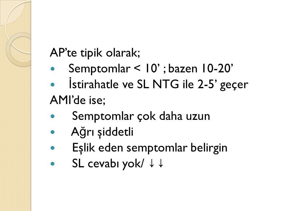 AP'te tipik olarak; Semptomlar < 10' ; bazen 10-20' İstirahatle ve SL NTG ile 2-5' geçer. AMI'de ise;