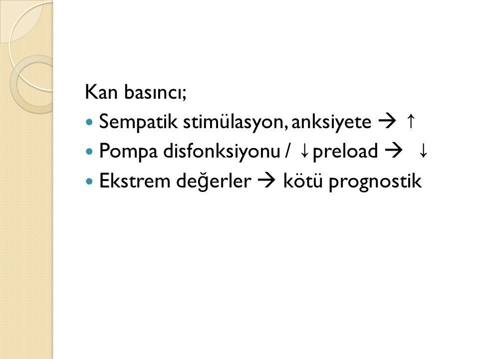 Kan basıncı; Sempatik stimülasyon, anksiyete  ↑ Pompa disfonksiyonu / ↓preload  ↓ Ekstrem değerler  kötü prognostik.