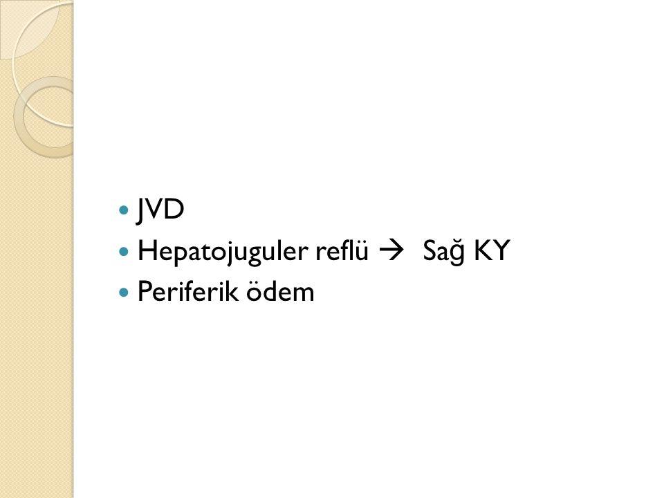 JVD Hepatojuguler reflü  Sağ KY Periferik ödem