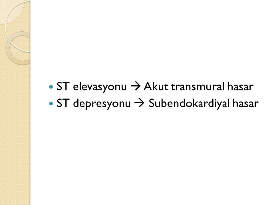 ST elevasyonu  Akut transmural hasar