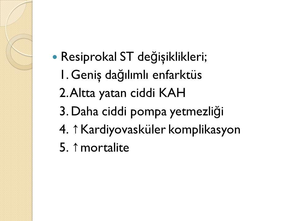 Resiprokal ST değişiklikleri;