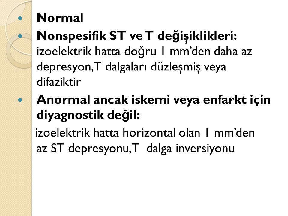 Normal Nonspesifik ST ve T değişiklikleri: izoelektrik hatta doğru 1 mm'den daha az depresyon, T dalgaları düzleşmiş veya difaziktir.