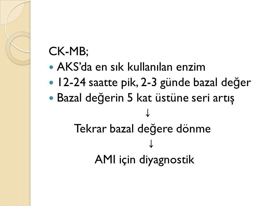 CK-MB; AKS'da en sık kullanılan enzim. 12-24 saatte pik, 2-3 günde bazal değer. Bazal değerin 5 kat üstüne seri artış.
