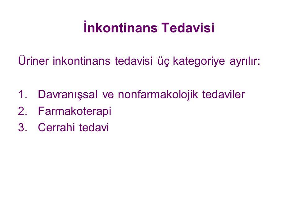 İnkontinans Tedavisi Üriner inkontinans tedavisi üç kategoriye ayrılır: Davranışsal ve nonfarmakolojik tedaviler.