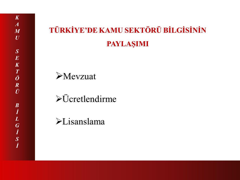 TÜRKİYE'DE KAMU SEKTÖRÜ BİLGİSİNİN PAYLAŞIMI