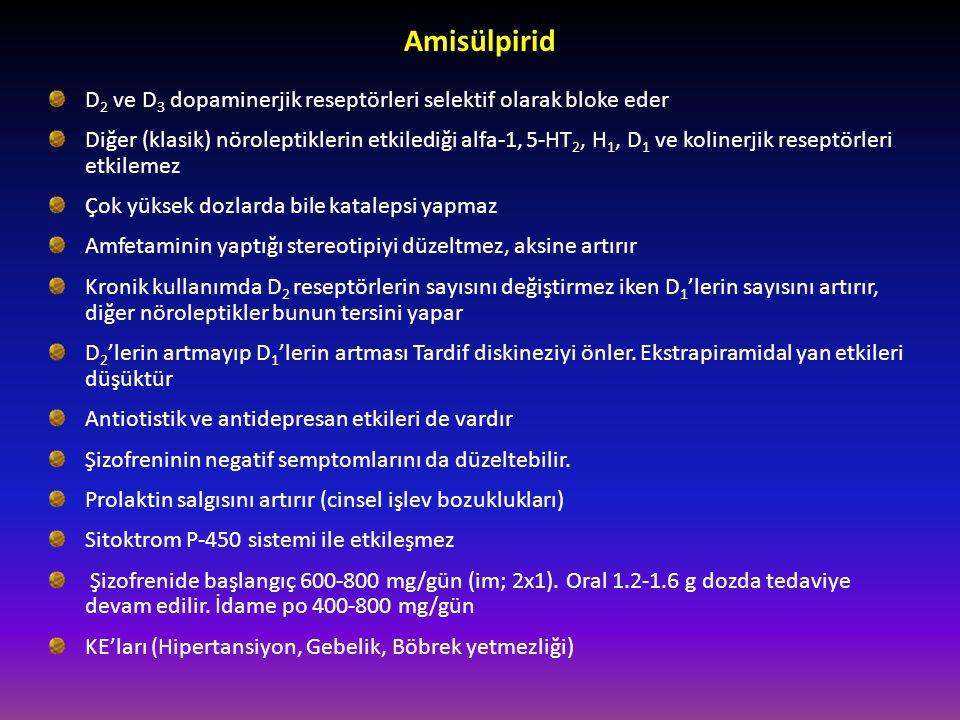 Amisülpirid D2 ve D3 dopaminerjik reseptörleri selektif olarak bloke eder.