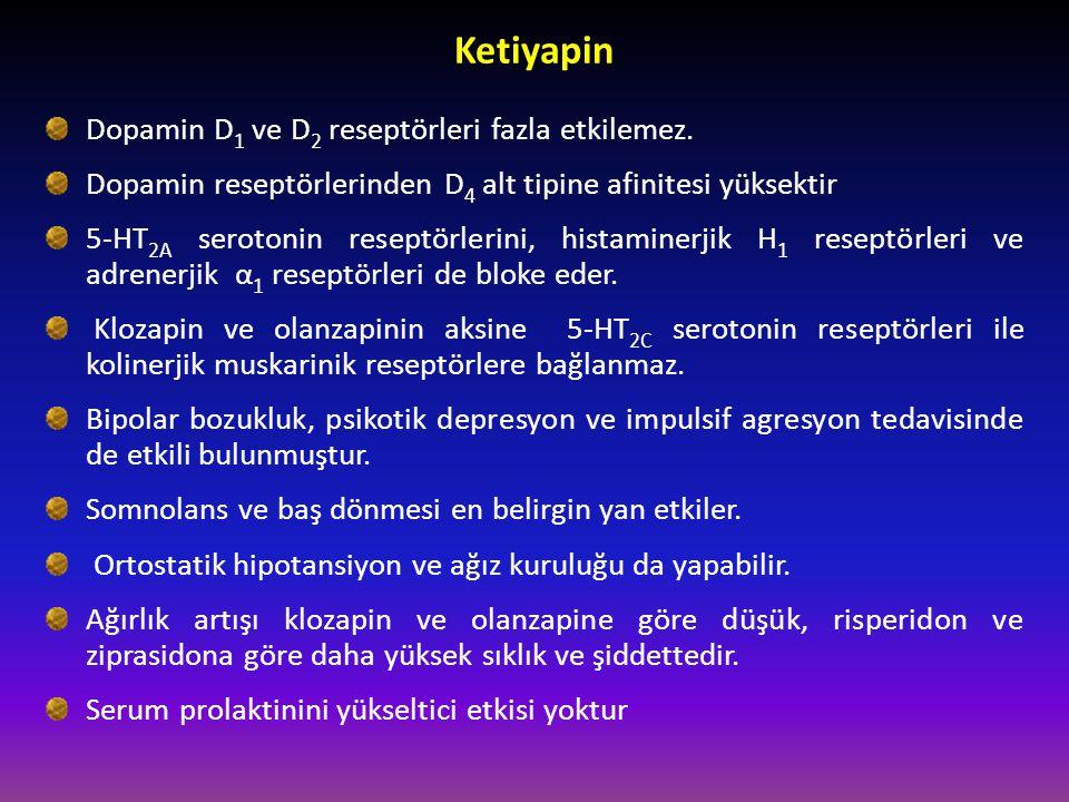 Ketiyapin Dopamin D1 ve D2 reseptörleri fazla etkilemez.