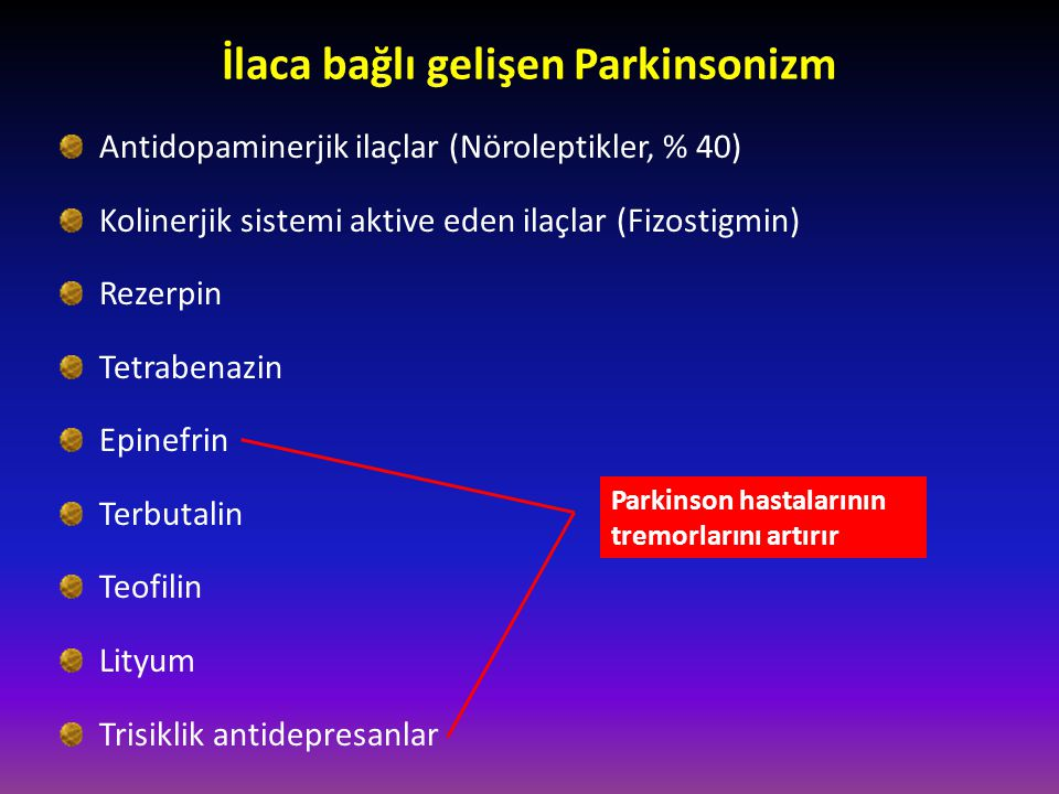 İlaca bağlı gelişen Parkinsonizm