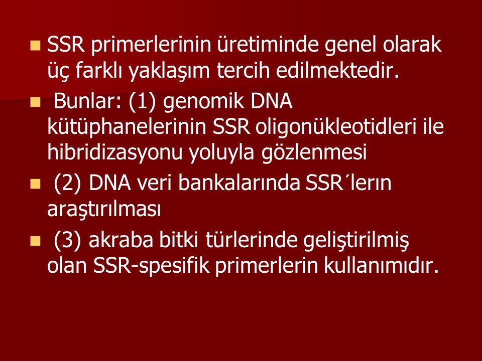 SSR primerlerinin üretiminde genel olarak üç farklı yaklaşım tercih edilmektedir.