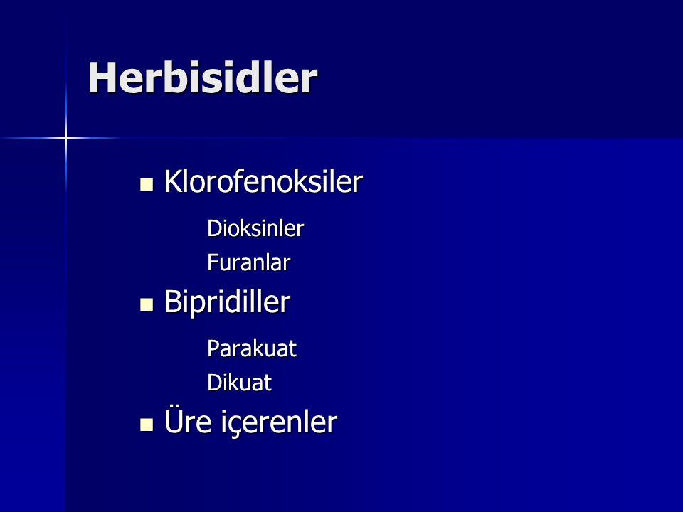 Herbisidler Klorofenoksiler Dioksinler Bipridiller Parakuat