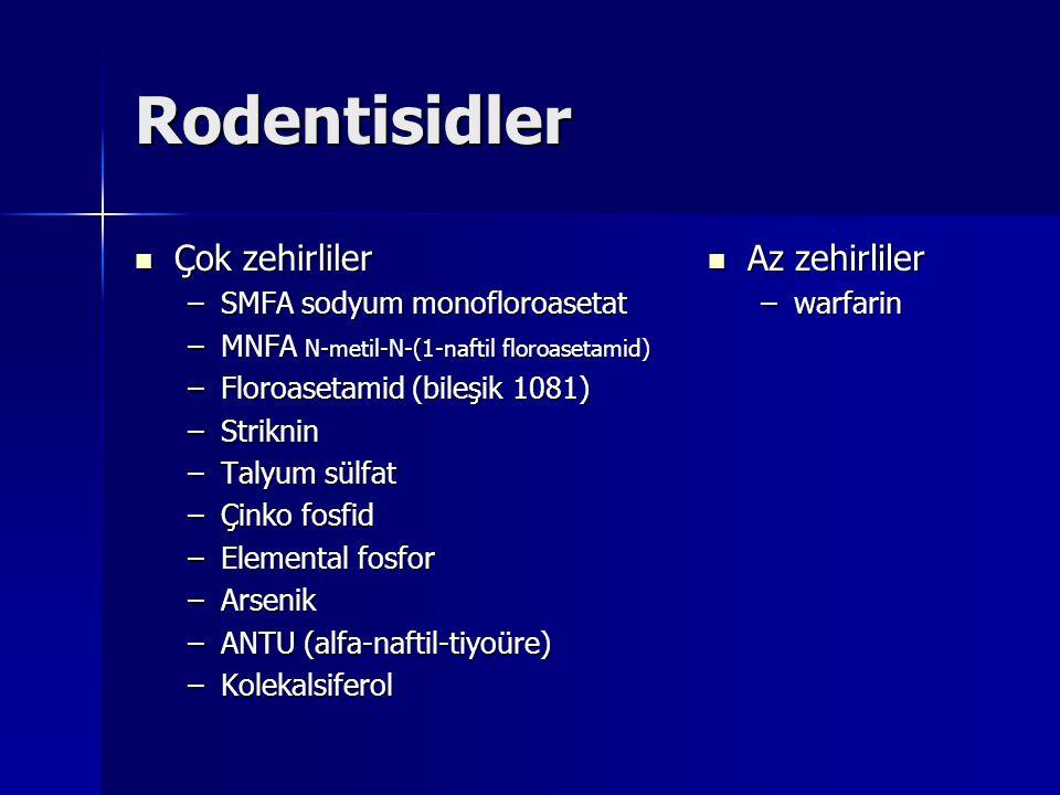Rodentisidler Çok zehirliler Az zehirliler SMFA sodyum monofloroasetat