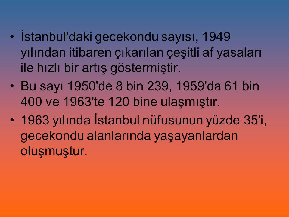 İstanbul daki gecekondu sayısı, 1949 yılından itibaren çıkarılan çeşitli af yasaları ile hızlı bir artış göstermiştir.