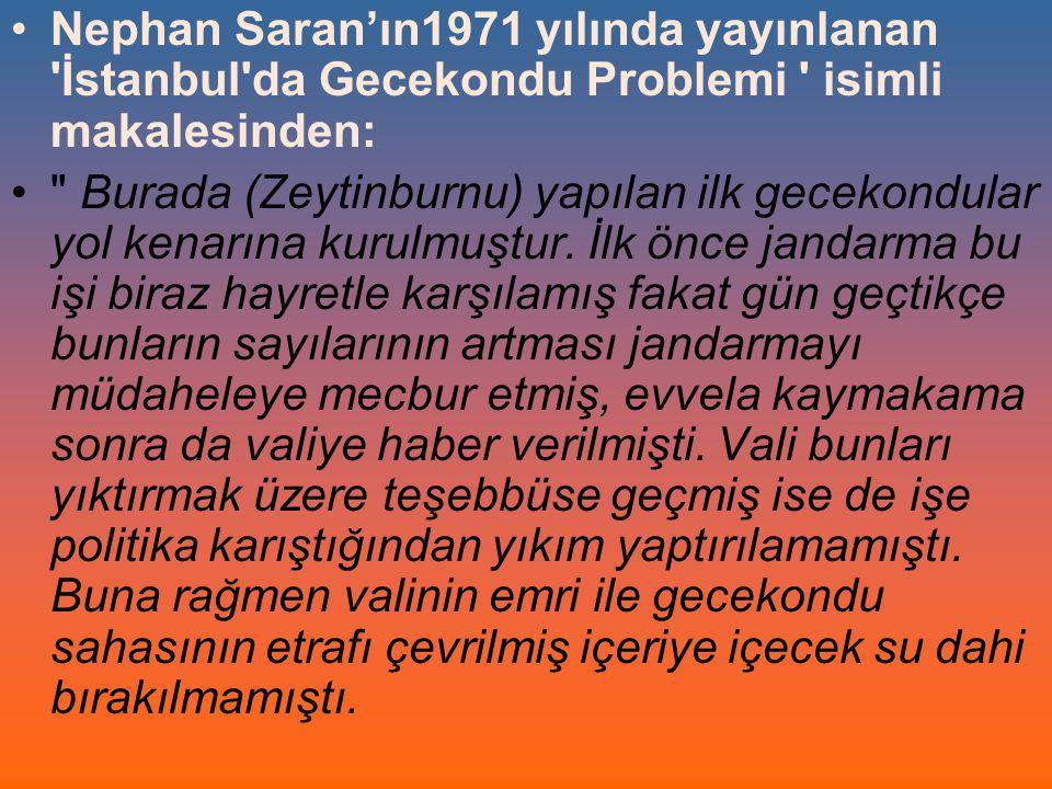 Nephan Saran'ın1971 yılında yayınlanan İstanbul da Gecekondu Problemi isimli makalesinden: