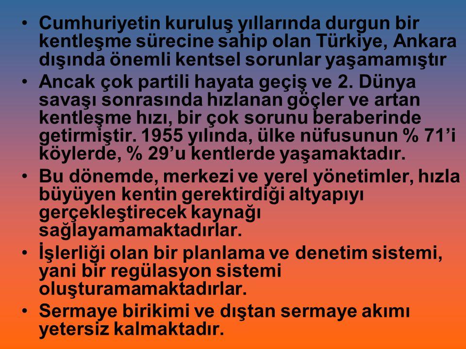 Cumhuriyetin kuruluş yıllarında durgun bir kentleşme sürecine sahip olan Türkiye, Ankara dışında önemli kentsel sorunlar yaşamamıştır
