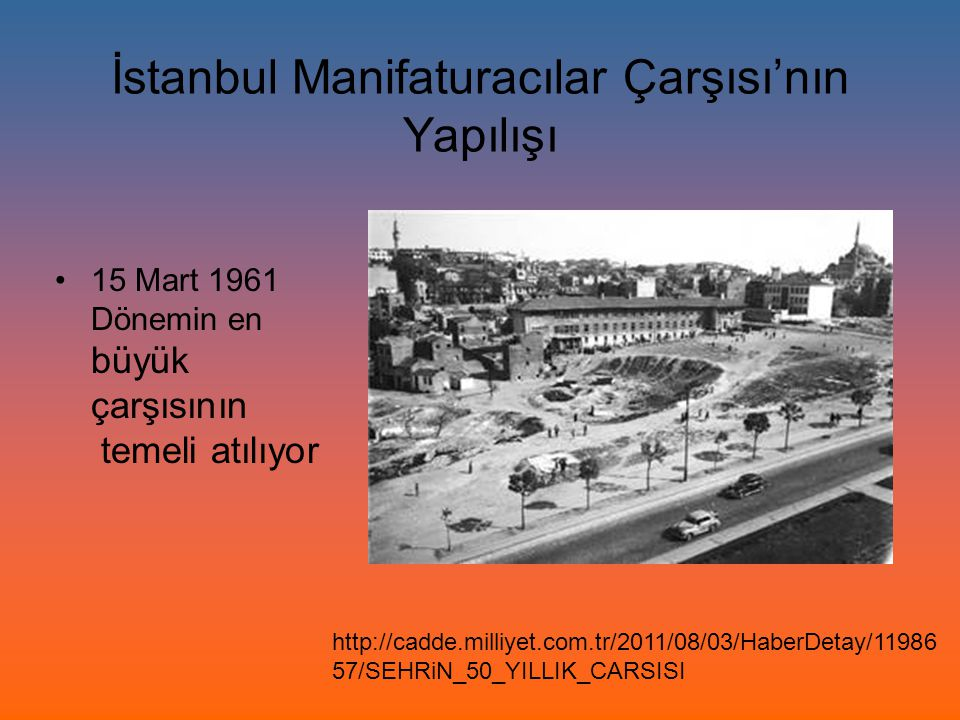 İstanbul Manifaturacılar Çarşısı'nın Yapılışı