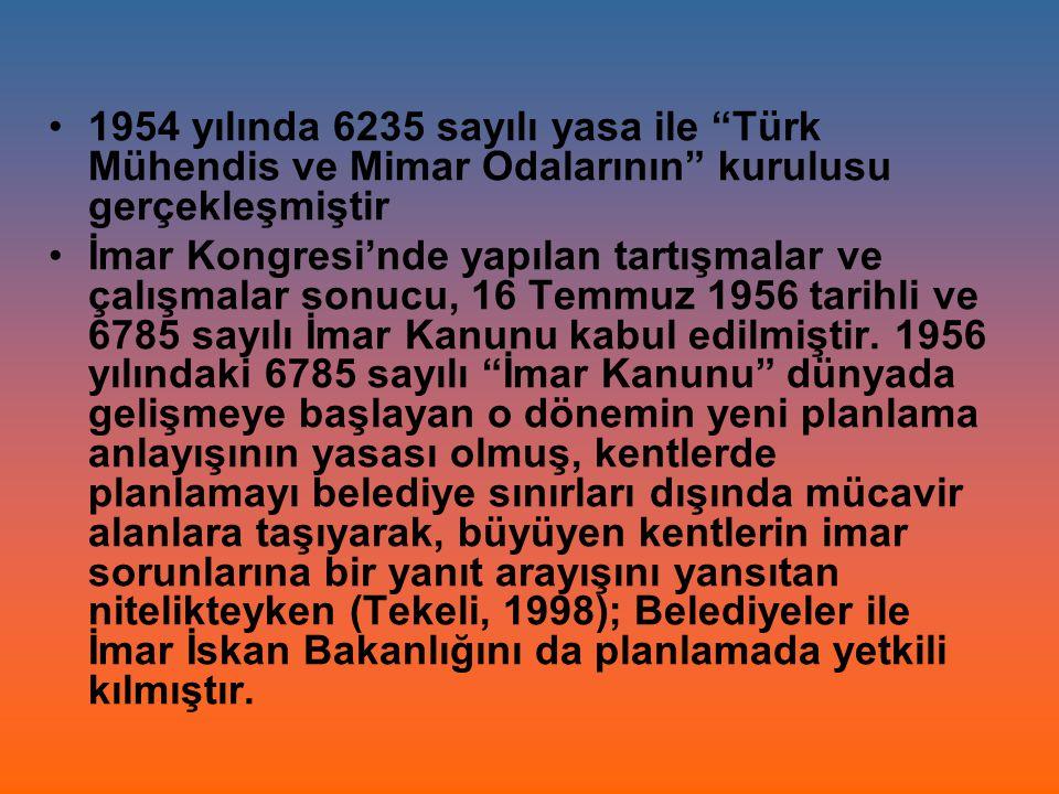 1954 yılında 6235 sayılı yasa ile Türk Mühendis ve Mimar Odalarının kurulusu gerçekleşmiştir