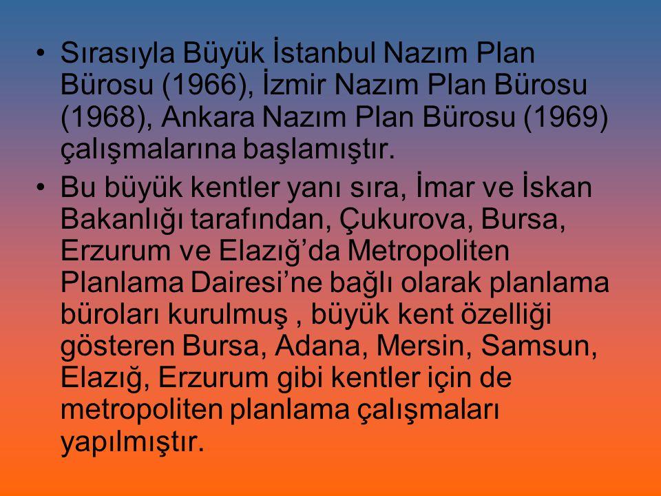 Sırasıyla Büyük İstanbul Nazım Plan Bürosu (1966), İzmir Nazım Plan Bürosu (1968), Ankara Nazım Plan Bürosu (1969) çalışmalarına başlamıştır.