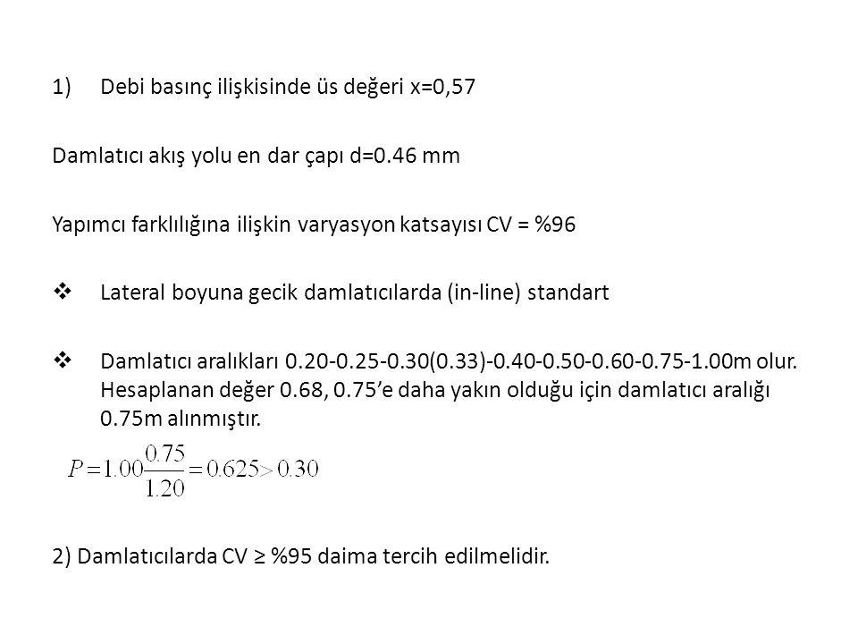Debi basınç ilişkisinde üs değeri x=0,57