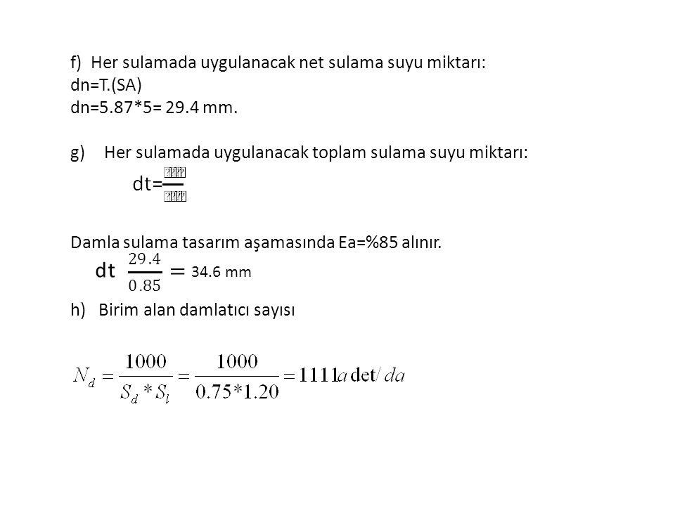 d t = f) Her sulamada uygulanacak net sulama suyu miktarı: dn=T.(SA)