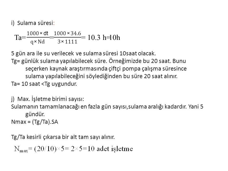 Ta= = 10.3 h i) Sulama süresi: