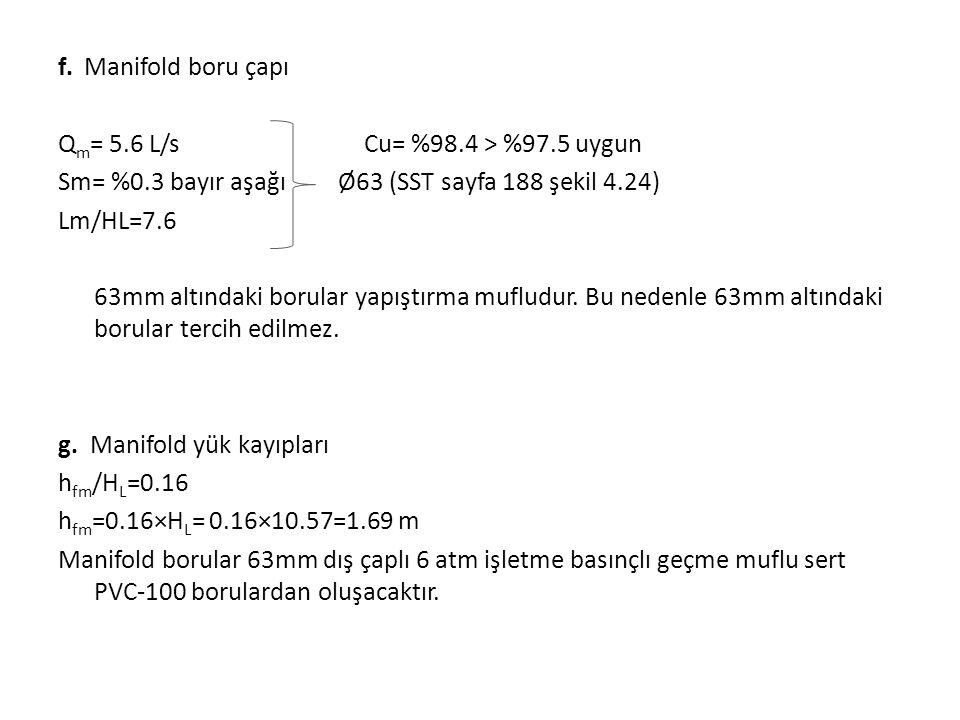 f. Manifold boru çapı Qm= 5. 6 L/s Cu= %98. 4 > %97. 5 uygun Sm= %0