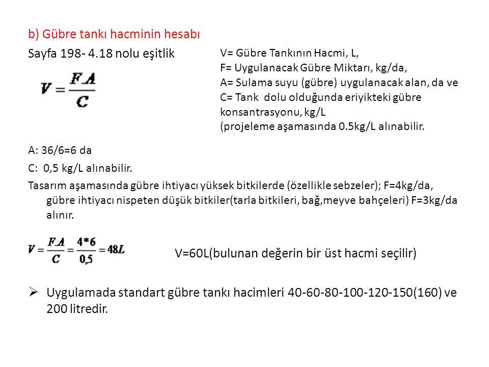 b) Gübre tankı hacminin hesabı Sayfa 198- 4.18 nolu eşitlik