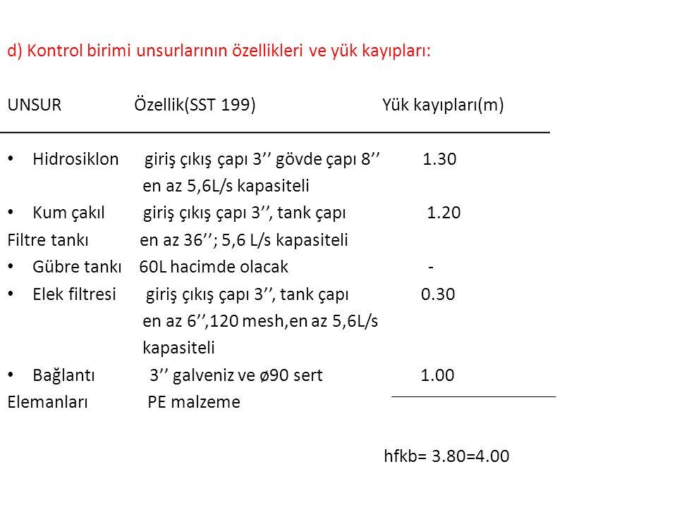 d) Kontrol birimi unsurlarının özellikleri ve yük kayıpları: