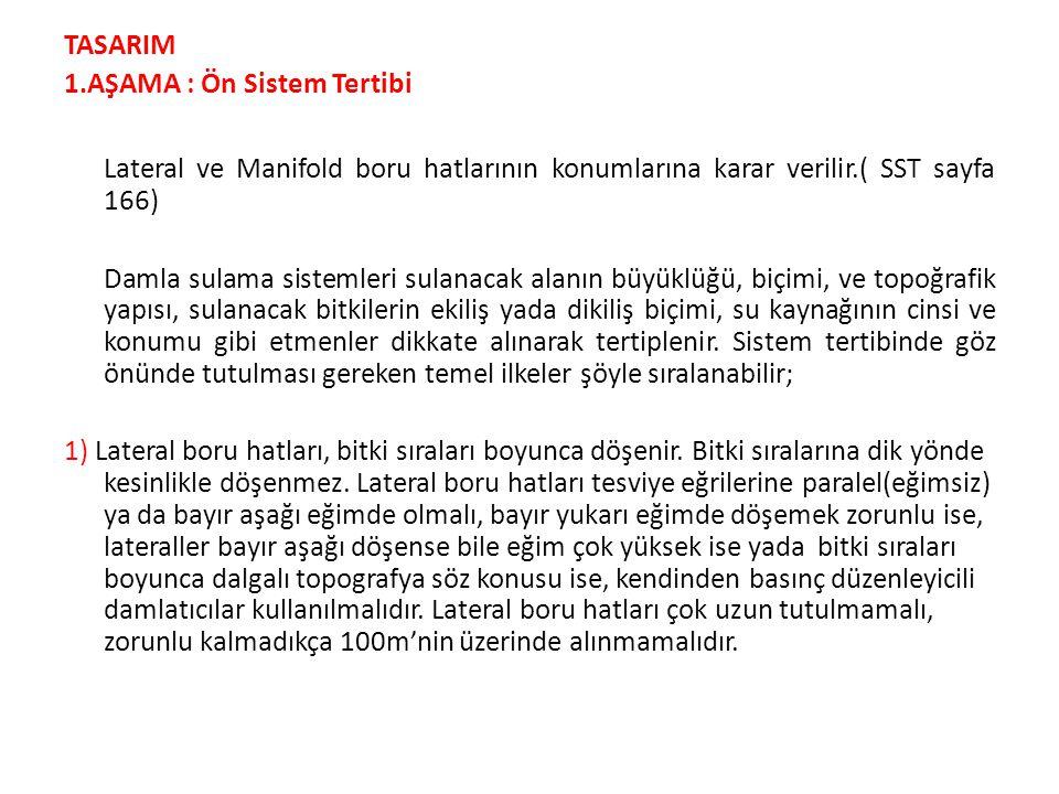 TASARIM 1.AŞAMA : Ön Sistem Tertibi. Lateral ve Manifold boru hatlarının konumlarına karar verilir.( SST sayfa 166)