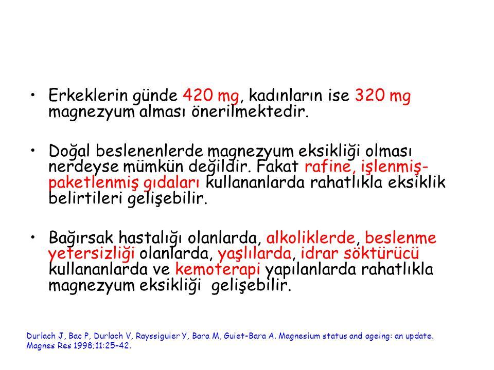 Erkeklerin günde 420 mg, kadınların ise 320 mg magnezyum alması önerilmektedir.
