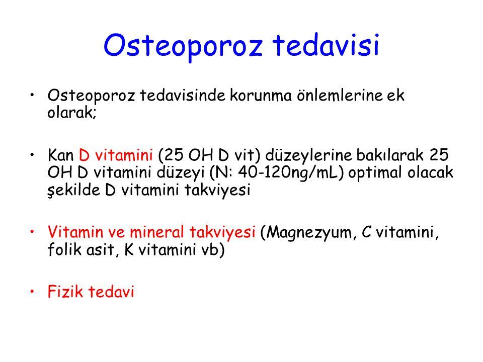 Osteoporoz tedavisi Osteoporoz tedavisinde korunma önlemlerine ek olarak;