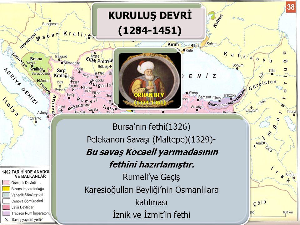 KURULUŞ DEVRİ (1284-1451) Bursa'nın fethi(1326)