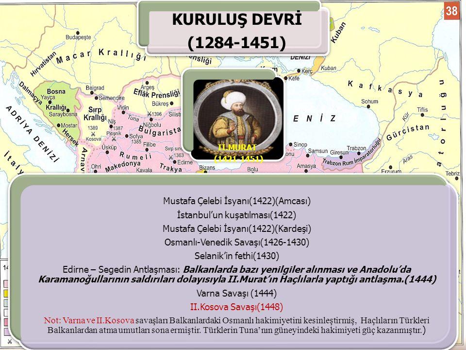 KURULUŞ DEVRİ (1284-1451) Mustafa Çelebi İsyanı(1422)(Amcası)