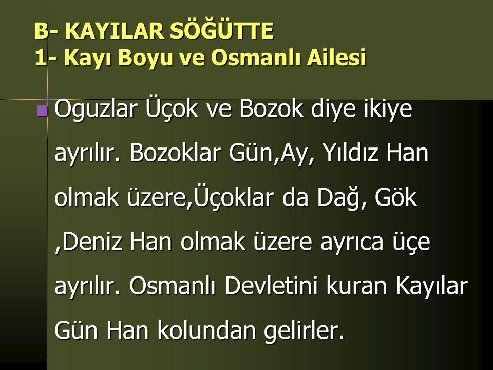 B- KAYILAR SÖĞÜTTE 1- Kayı Boyu ve Osmanlı Ailesi