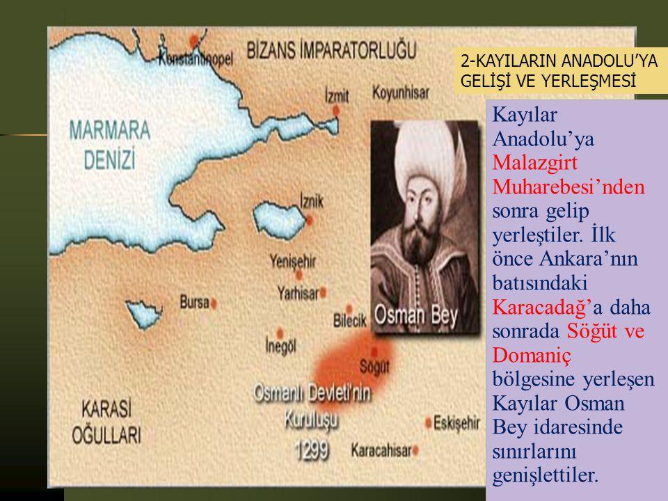 2-KAYILARIN ANADOLU'YA GELİŞİ VE YERLEŞMESİ