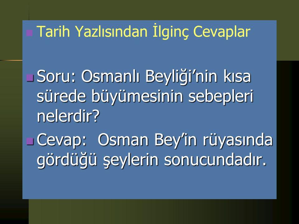 Soru: Osmanlı Beyliği'nin kısa sürede büyümesinin sebepleri nelerdir