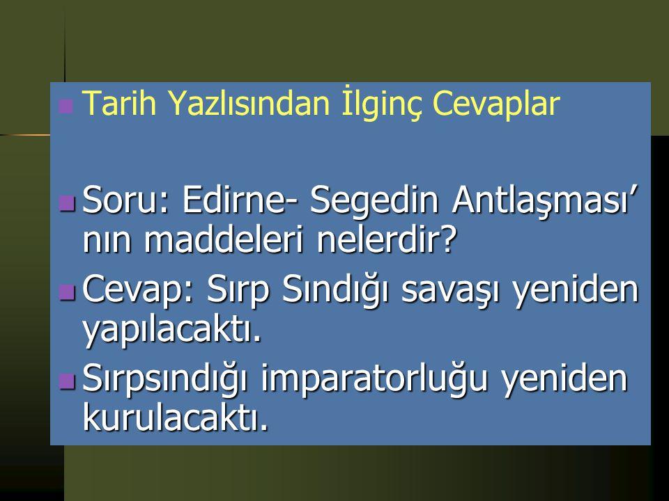 Soru: Edirne- Segedin Antlaşması' nın maddeleri nelerdir