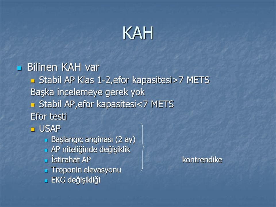 KAH Bilinen KAH var Stabil AP Klas 1-2,efor kapasitesi>7 METS