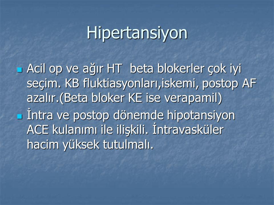 Hipertansiyon Acil op ve ağır HT beta blokerler çok iyi seçim. KB fluktiasyonları,iskemi, postop AF azalır.(Beta bloker KE ise verapamil)