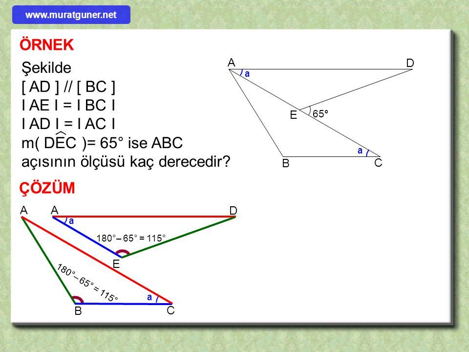 m( DEC )= 65° ise ABC açısının ölçüsü kaç derecedir